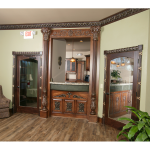 Reception desk with exquisite moldings and finishes.