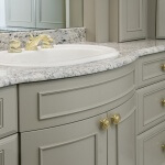 Applied molding on bow front vanity