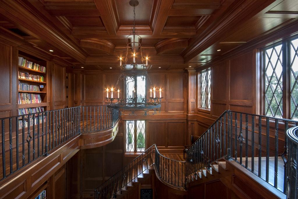Balcony level mahogany library