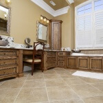 Carved applied molding on master bath cabinetry