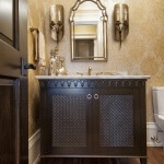 Exquisite powder room vanity with woven panel