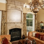 Faux stone fireplace surround corbels