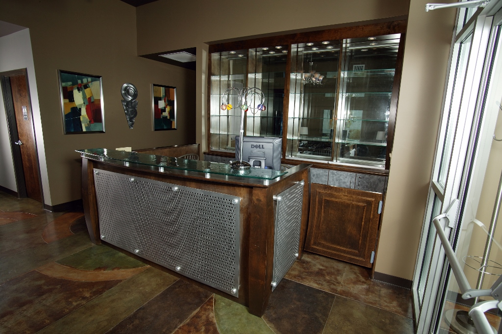 Glass Metal And Wood Reception Desk