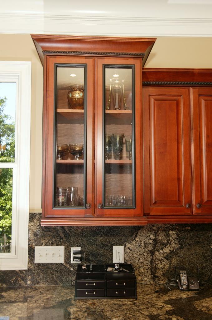 Glass paneled upper cabinet