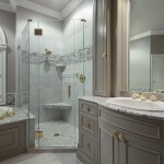 Gray master bathroom with crown molding and flextape lighted mirror