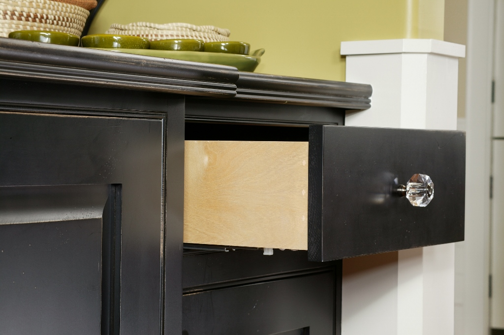 Inset doors and drawers with black finish
