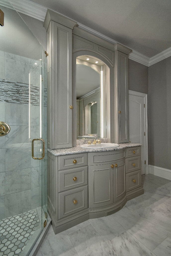 Custom Bathroom Vanities With Towers lighted vanity towers and mirror | custom wooden cabinets and