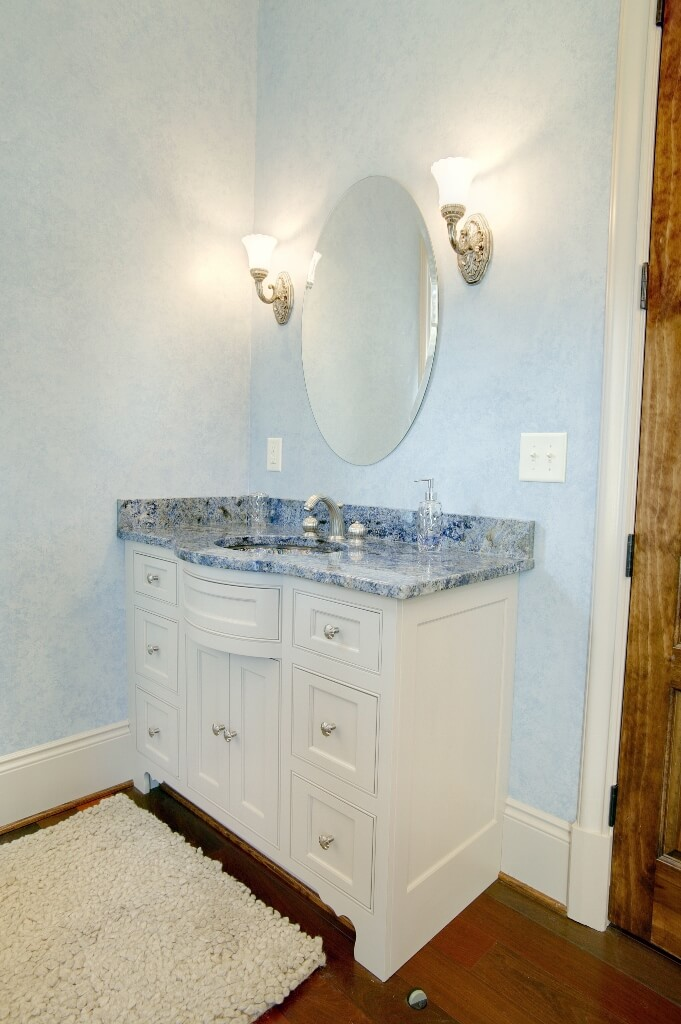 Vanity Light Above Oval Mirror : Oval mirror above furniture grade vanity Custom Wooden Cabinets and Furniture