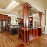 Tall ceilings in kitchen with island