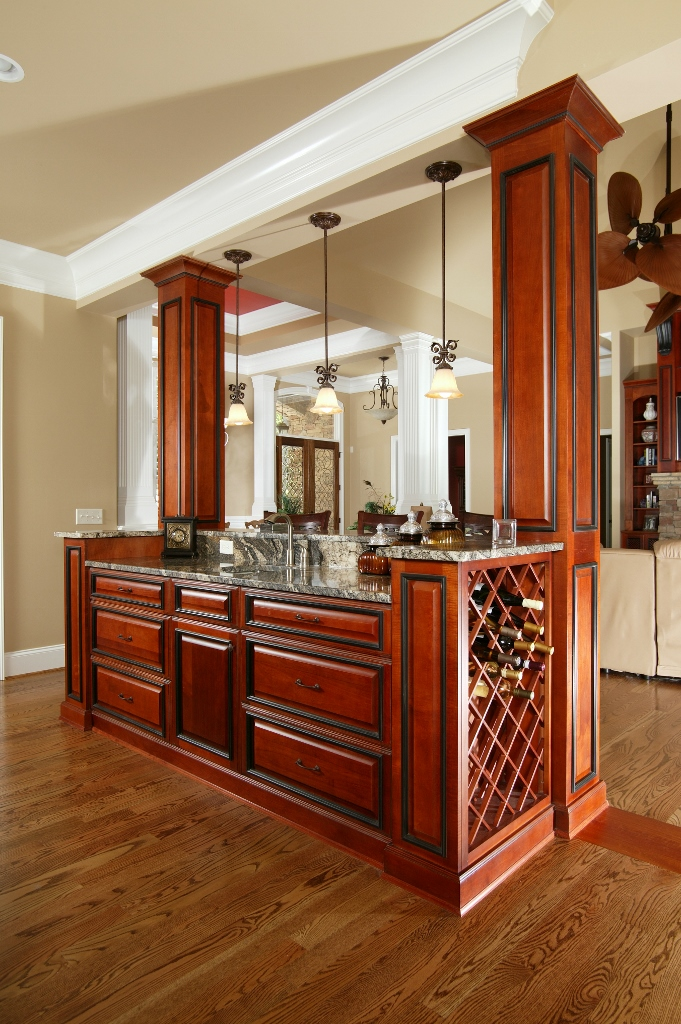 Two tone kitchen with wine rack