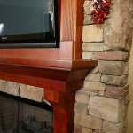 Up close mantle with a stain finish
