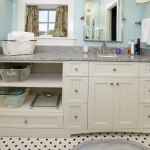 White Vanity with shelves, grey counter top