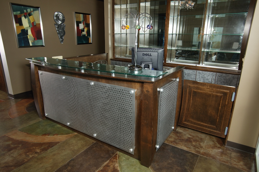 Wood and metal reception desk custom wooden cabinets and for Metal desk with wood top