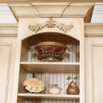beadboard backed cabinet with crown glazed finish