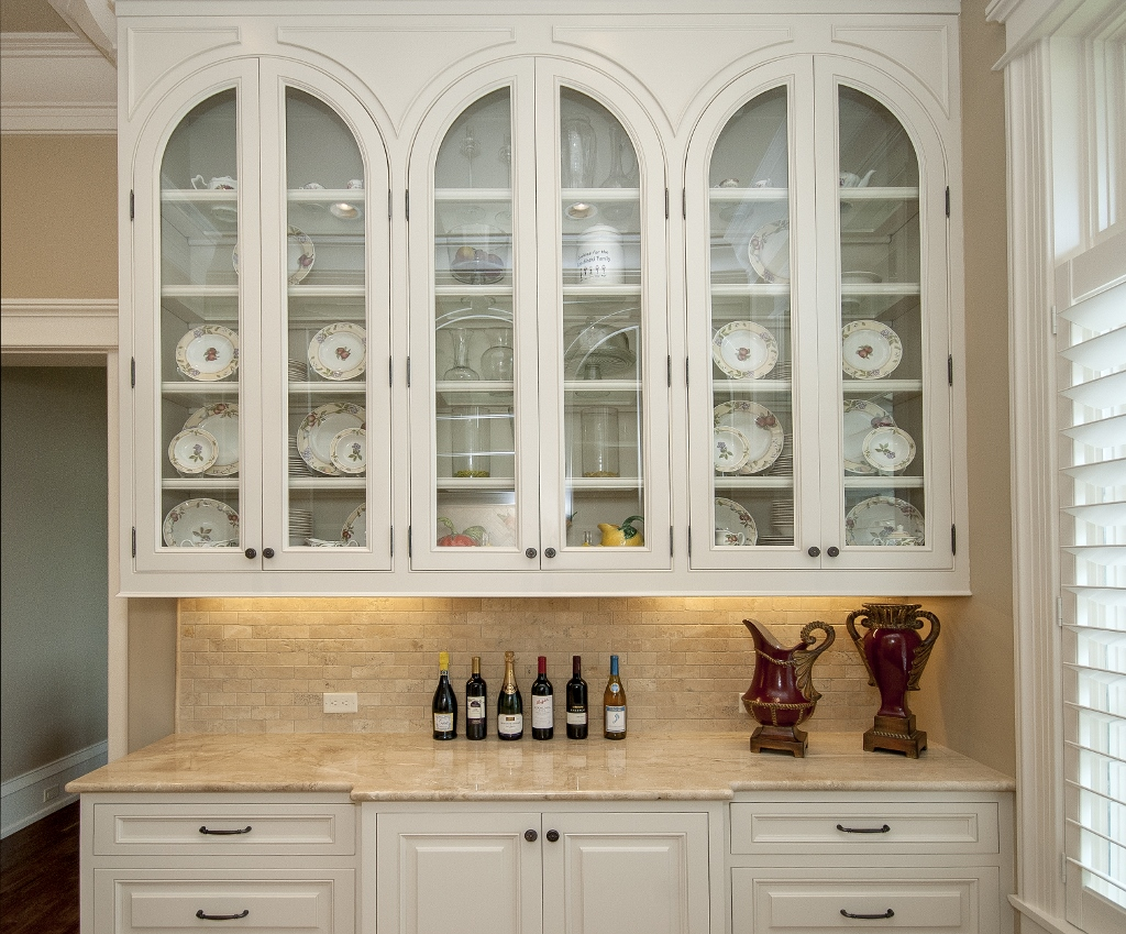 built-in cabinet with glass panels