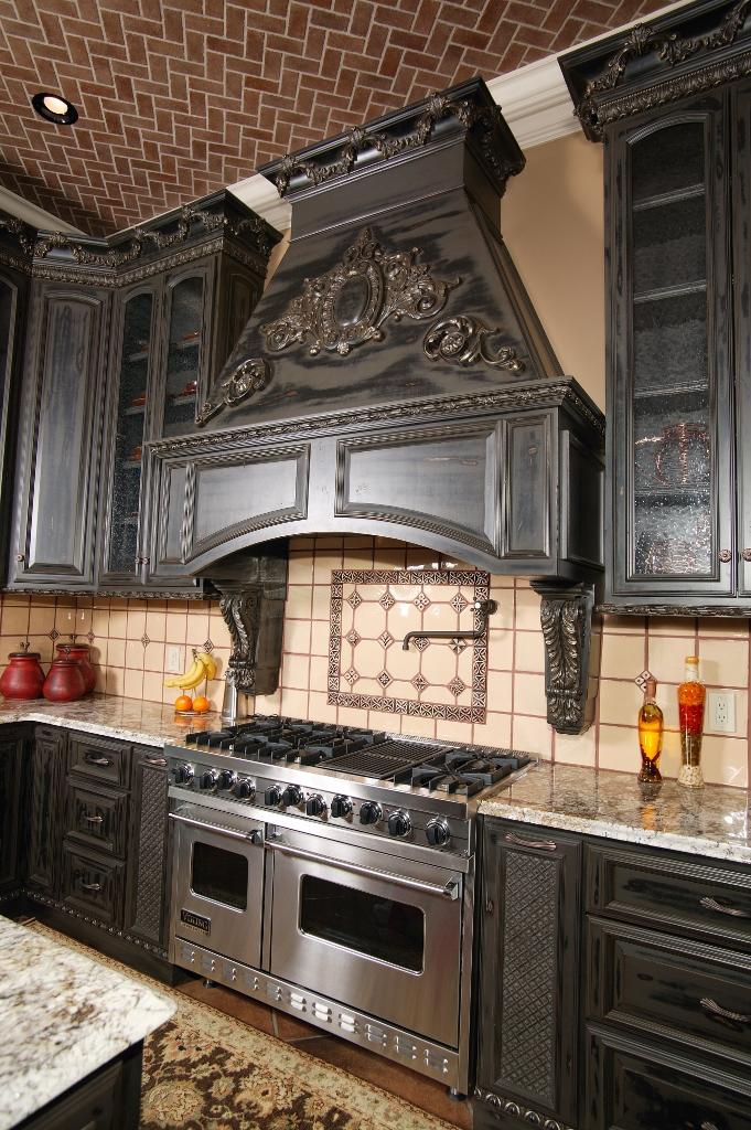 detailed black kitchen hood