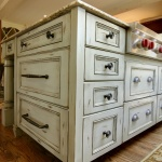 distressed cabinet island finish inset flat panel