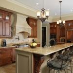 faux stone hood in kitchen