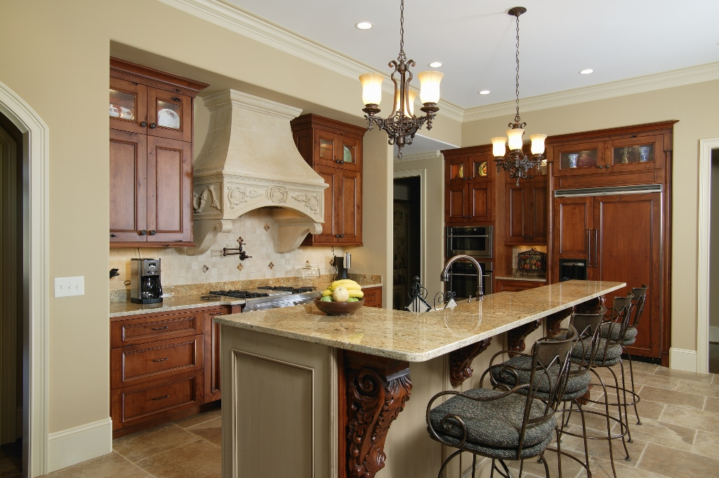 faux stone hood in kitchen