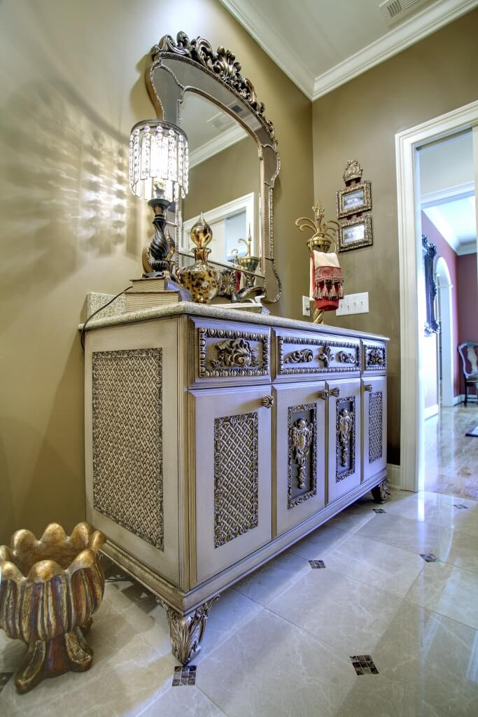 furniture grade vanity with wooven pattern on panel