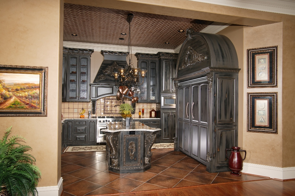 gothic black kitchen exotic moldings & gothic black kitchen exotic moldings | Custom Wooden Cabinets and ...