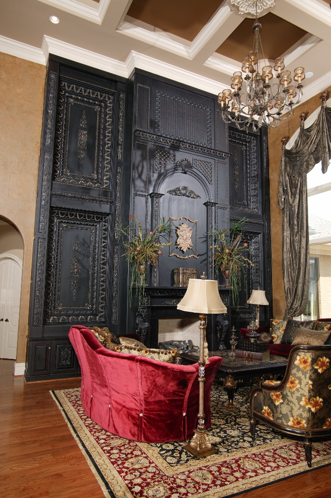great room focal point black fireplace surround