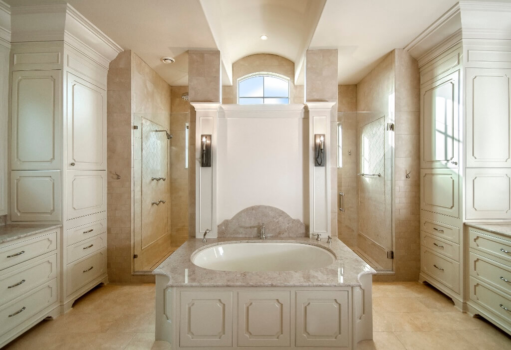 luxorious master with custom cabinet