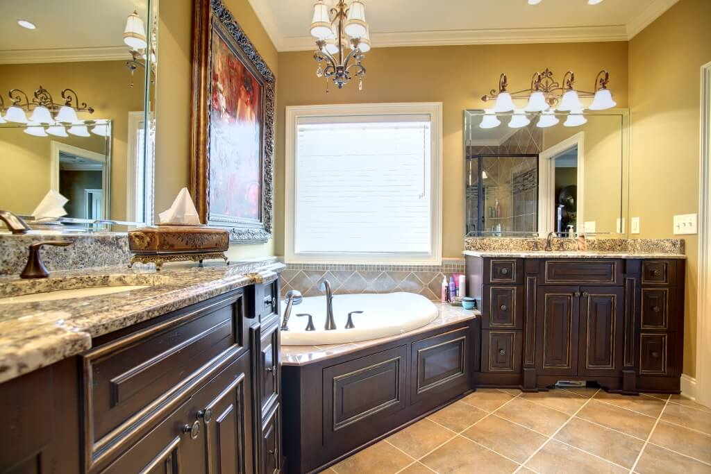 master bath with tub front stained finish raised panels | Custom ...