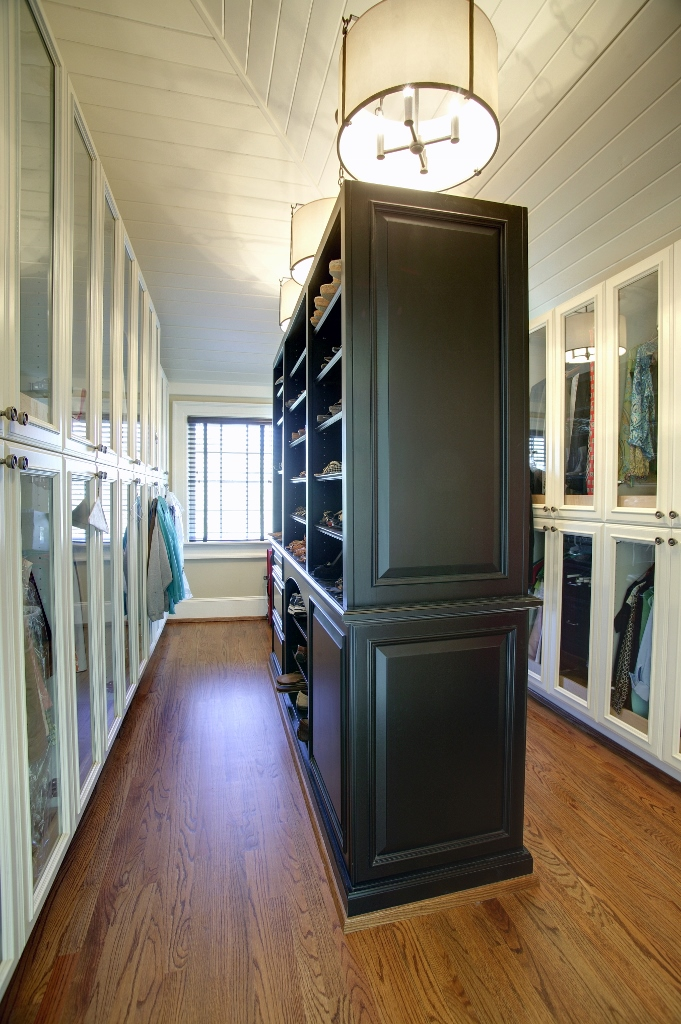 Master Closet Glass Paneled Doors White And Black Custom Wooden Cabinets And Furniture