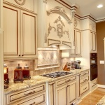 regal two toned kitchen with appliques