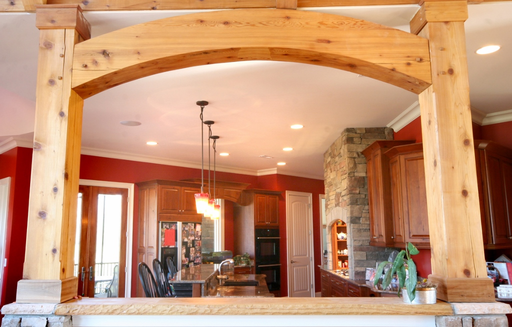 rustic beams in kitchen