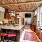 rustic ceiling kitchen farm sink