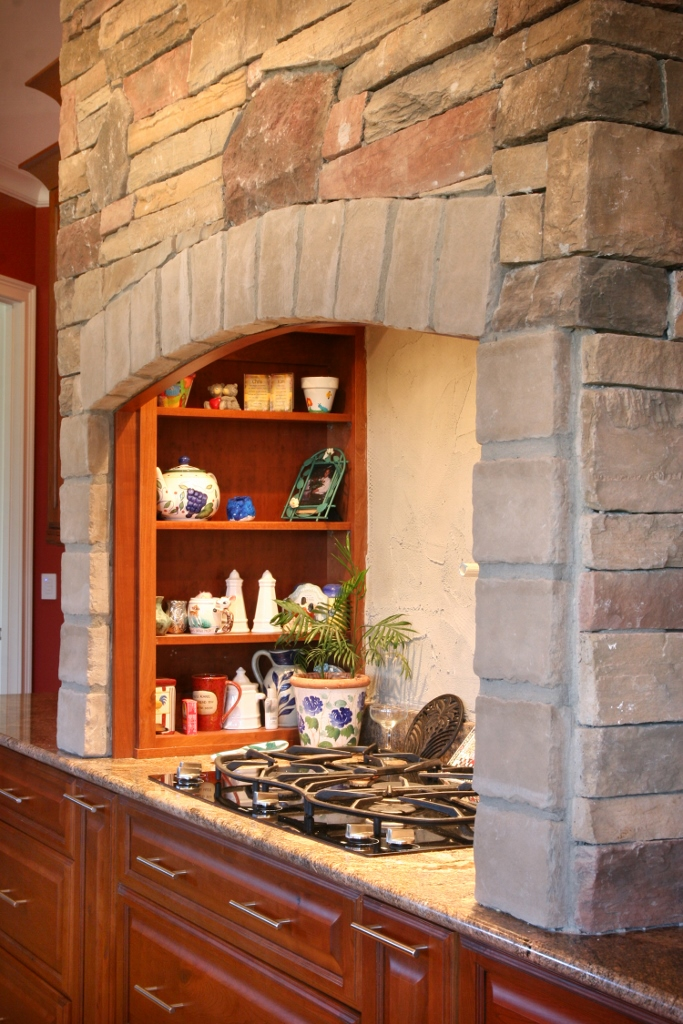 stove shelf nook with stone detail