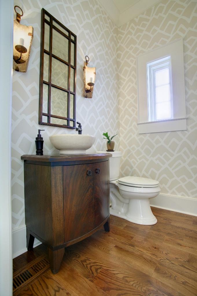 veneer bow front powder room vanity