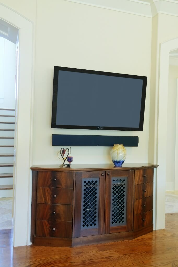 Living room TV hutch metal panel | Custom Wooden Cabinets and ...