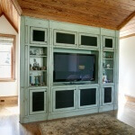 TV built in with screen panels and painted finish