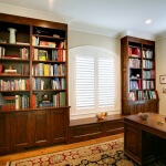 book cases stained window seat plantation shutters