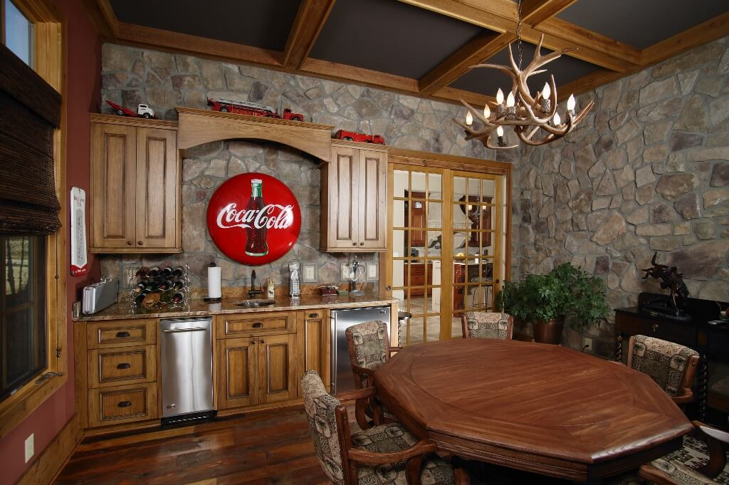 game room coca cola sign stained alder