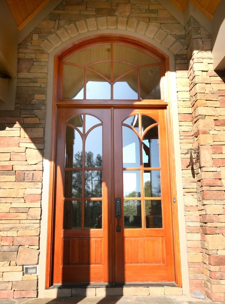 Grand Front Enterance Double Door Custom Wooden Cabinets