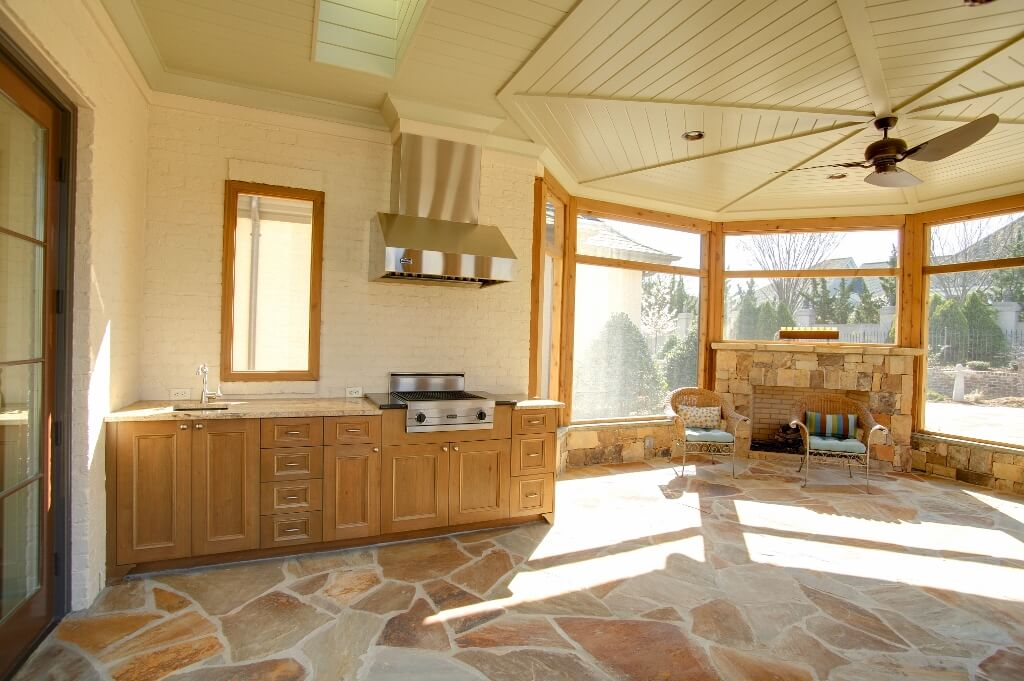 patio kitchen simple wood
