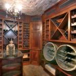 wine cellar reclaimed barrels brick ceiling