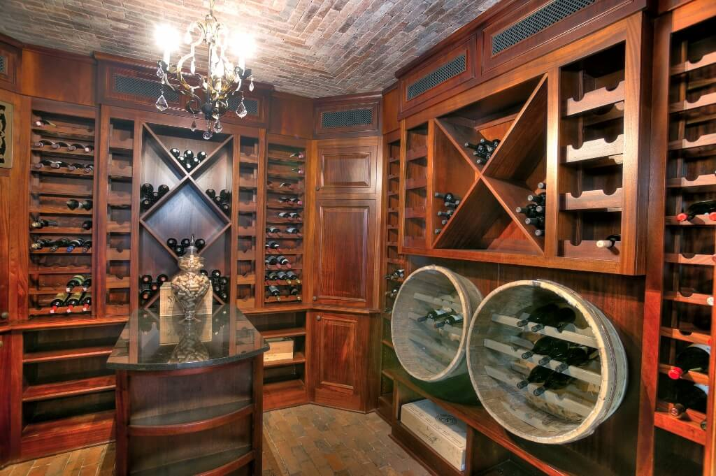 wine cellar reclaimed barrels brick ceiling